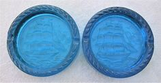 Massive Blue Glass Ashtray Pair(10+ Lbs) Sailing Ships Nautical Decor Tobacciana