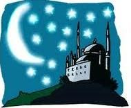 Night, moon and mosque
