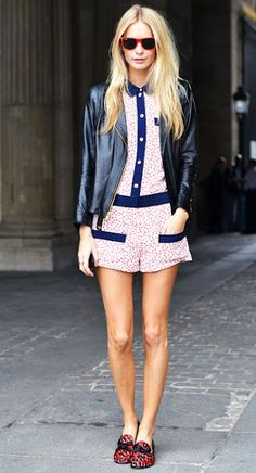 #PoppyDelevigne Playsuits and Leather = Two of our favourite things!