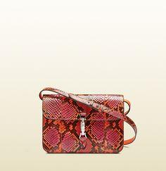 Gucci Jackie Soft Leather Python Flap Shoulder Bag; $3,100.00