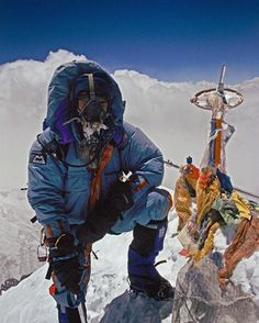 Update from Jon Krakauer: Andy Harris on the summit of Mt. Everest May 10 1996 at 1:15 PM shortly before everything went bad. We had no idea that those fluffy white clouds in the background were the crowns of huge cumulonimbus clouds boiling upwards to engulf us in a storm of extraordinary violence. Andy a guide employed by Rob Hall started down just after I took this photo but 3 hours later he got a desperate radio call from Rob asking him to climb back up with a bottle of oxygen for a…