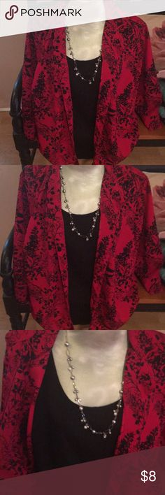 Red hot floral blouse A lovely two piece set a blouse with attached black tank. Lovely black floral pattern. White Stag Tops Blouses