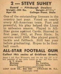1948 Leaf #2 Steve Suhey Back