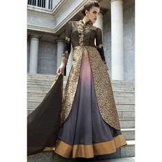 Lehenga pakistanais, noir et gris chaniya net choli-Andaaz Fashion