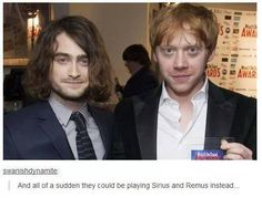 Daniel Radcliffe: managing my hair is a nightmare - Harry Potter - Daniel & Rupert could play Sirius & Remus - Harry Potter Welt, Harry Potter Jokes, Harry Potter Fandom, Hogwarts, Slytherin, Daniel Radcliffe, The Golden Trio, Scorpius And Rose, Plus Tv