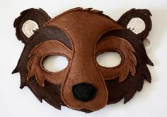 Brown Bear Woodland Mask and Tail for Pretend by HuntingFaeries