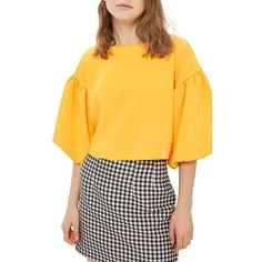 Women's Topshop Puff Sleeve Top ($80) ❤ liked on Polyvore featuring tops, orange, puffed sleeve top, boxy top, orange top, puff sleeve top and puff shoulder top
