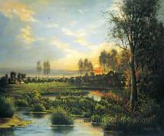 """Gallery Stretched Classical Paintings Landscape Art Painting, Size: 36"""" x 24"""", $104. Url: http://www.oilpaintingshops.com/gallery-stretched-classical-paintings-landscape-art-painting-2118.html"""