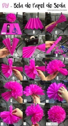 Diy Birthday Decorations, Birthday Diy, Diy Halloween Decorations, Paper Decorations, Paper Flower Garlands, Tissue Paper Flowers, Paper Pom Poms, Flower Crafts, Diy Flowers