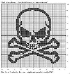 Free Filet Crochet Charts and Patterns: Filet Crochet Skull