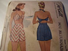 Vintage 1940's McCall 6036 Pin Up Bathing Suit Sewing Pattern, Size 18, Bust 36 di TheLastPixie su Etsy https://www.etsy.com/it/listing/249322083/vintage-1940s-mccall-6036-pin-up-bathing
