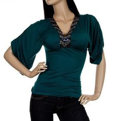 Ocean Green Kimono Embellished Rayon Jeweled 3 4 Sleeve Cinched Top Small SM | eBay