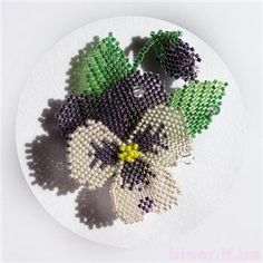 violets - 3 different projects from 3D, to flat to wired. Direction & schema. (Russian) #Seed #Bead #Tutorials