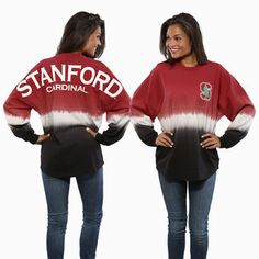 Stanford Cardinal Women's Ombre Long Sleeve Dip-Dyed Spirit Jersey #stanford #cardinal #college