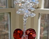 """Swarovski Crystal Heart Suncatcher Topped with Medley of Octagons, Window Ornament, Window Decoration, Prism, Hanging Heart - """"THERESA"""" Swarovski Crystal Figurines, Swarovski Crystals, I Love Heart, Sun Catcher, Heart Art, Wild Hearts, Mobiles, Wind Chimes, Heart Shapes"""