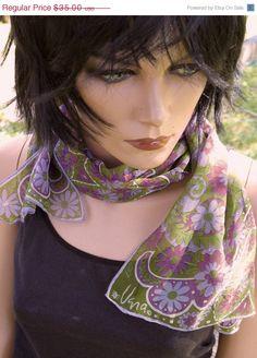Gorgeous Hand Rolled Edge Silk Chiffon  1967 by RadicallyRetro