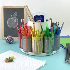 Make a Spinning Storage Station with this Easy DIY Tutorial diy videos classroom Fun Crafts, Diy And Crafts, Crafts For Kids, Cute Diy Crafts For Your Room, Homework Station Diy, Kids Homework, Craft Projects, Projects To Try, Wood Projects