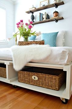 Add a storage-friendly platform to your bed: This DIY platform maximizes your under-the-bed storage. Use woven baskets to add some more style to your bedroom too. Click through to find more easy DIY bedroom organization ideas.