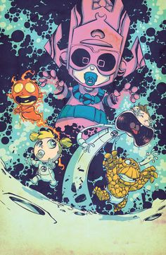 Marvel baby variant cover of Fantastic Four by Skottie Young Baby Avengers, Baby Marvel, Batwoman, Nightwing, Skottie Young, Marvel Dc, Chibi Marvel, Comic Book Artists, Comic Artist