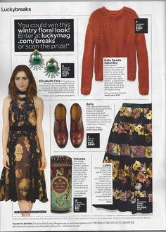 "LUCKY Magazine featuring LUBLU Kira Plastinina ""Floral Block skirt"" for LUCKY breaks. November, 2013"