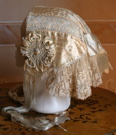 lace, silk, detailed handsewing, head cover