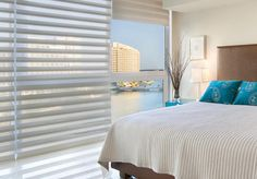Hunter Douglas   Pirouette®   When I'm rich, I want these blinds. You can program them to open and shut. What a better way to wake up than with an alarm clock.