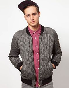 Enlarge ASOS Bomber Jacket In Quilted Fabric