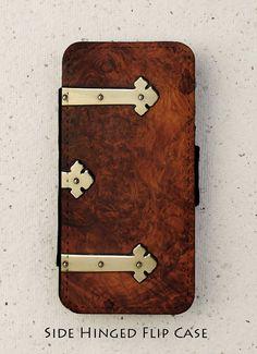 iPhone 4, 5 or 6 case - flip case - wood - walnut - cover - design - Galaxy S3, S3mini, S4, S5