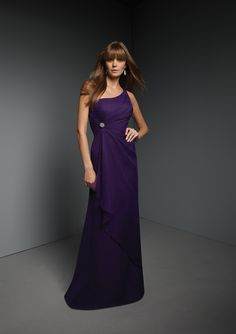 Mori Lee by Madeline Gardner - Style 270 -lovely long purple asymmetrical bridesmaid dress