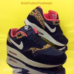 Nike Womens Air Max 1 Leopard Trainers Black/Red sz 6 Rare Sneakers US 8.5 EU 40  | eBay