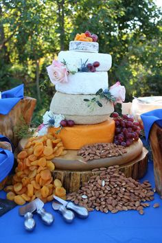 Cheese Wheel Wedding Cake (cheese and toppings were purchased by bride and assembled by Khimaira staff) It was served during appetizers This wedding was lots of cobalt blue with gold and neutrals, some rustic and some glam, lots of rosemary and succulents Cupcake Stands, Cobalt Blue, Wedding Cakes, Succulents, Cheesecake, Appetizers, Pie, Rustic, Desserts