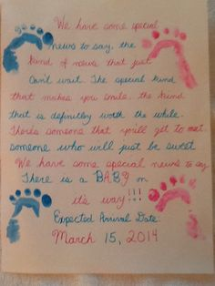 """DIY """"There is a Baby on the way!"""" Pregnancy announcement! Handmade, homemade from the heart. Just the side of the hand watercolor paint, two markers and computer paper. Given to grandparents for that special announcement."""