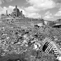 rare photo from the ruins of nagasaki, taken one month after americans dropped an atom bomb on japan in 1945