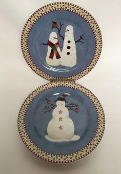 2 Sakura Blue SNOWMAN Plates Dishes Luncheon Dessert Salad Debbie Mumm Xmas Set #Sakura