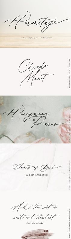 Hermitage is chic modern calligraphy font. Hermitage includes full set of lovely uppercase and lowercase letters, multilingual symbols, numerals, punctuation Handwritten Fonts, Calligraphy Fonts, Typography Fonts, Modern Calligraphy, Hand Lettering, Cursive Fonts, Lettering Design, Alphabet, Modern Fonts