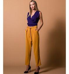 Παντελόνι Ψηλομεσο με ζώνη - Ώχρα Parachute Pants, Purple, Black, Fashion, Moda, Black People, Fashion Styles, Purple Stuff, Fasion