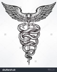 Caduceus Symbol Of God Mercury. Highly Detailed Snakes, Wrapped Around Winged Staff. Hand-Drawn Vintage Linear Tattoo Design. Dark Romantic Isolated Vector Art. - 341103806 : Shutterstock