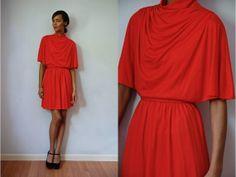 Vtg Red Draped High Neck Belted Retro Dress by LuluTresors on Etsy, $29.99