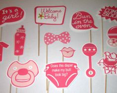 Baby Shower Photo Booth Props- 13 Pc Baby Girl Baby Shower Party Idea.Made with Heavy duty 65 lb card stock Paper. Colors can be customized for your shower them