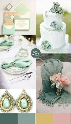 2015 trending jewel tones jade and gold wedding color schemes