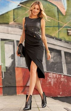 Looking for Bodycon Dresses? Call off the search with our Black Sleeveless Wrap Front Dress With Eco Leather Details. Shop unique fashion at SilkFred Wrap Front Dress, Wrap Dress, Black Tops, Going Out, Fitness Models, Cold Shoulder Dress, Cotton, How To Wear, Dresses