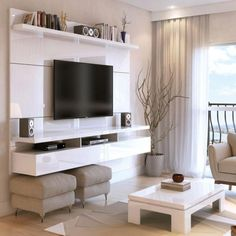 Manhattan comfort - city 2 floating wall theater entertainment center in white gloss. Floating Entertainment Center, Living Room Entertainment Center, Living Room Tv Unit, Small Living Rooms, Living Room Designs, Living Room Decor, Tv Room Small, Modern Living, Tv On Wall Ideas Living Room
