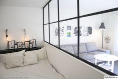 sovrum,vardagsrum,rumsavdelare,vitt,svart