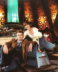 Sarah Jane Smith with Ten and K-9.