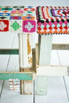 MES FAVORIS TRICOT-CROCHET: Inspirations déco : Housses de tabourets au crochet