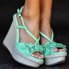 Seafoam Green Flowers | Love Cute Shoes | Flower Power Wedges: Seafoam Green