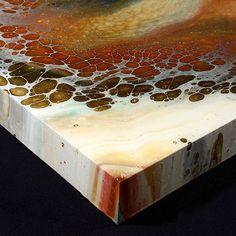 "Corner shot of ""Anthroplogy 1"" 36x36x2.5in. Acrylic & resin on wood panel"