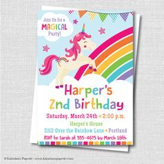 Rainbow Unicorn Birthday Party Invitation - Unicorn Themed Party - Digital Design and Printed Invitations - FREE SHIPPING by KatarinasPaperie on Etsy https://www.etsy.com/listing/235090922/rainbow-unicorn-birthday-party