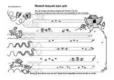 De dieren twee aan twee, gaan met Noach mee. www.bijbelidee.nl Bible Crafts, Torah, Sunday School, Letters, Kids, Preschools, Index Cards, Christians, Bible