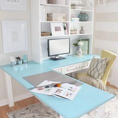 Home Office Makeover Reveal {Home Office}   This could maybe work for a home office/guest room so the desk can be in the   corner without feeling claustrophobic.